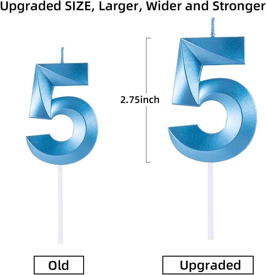 5 Candle Blue Sivim Birthday Candles Extended Big Number Candle Multicolor 3D Design Cake Topper Decoration for Any Celebration