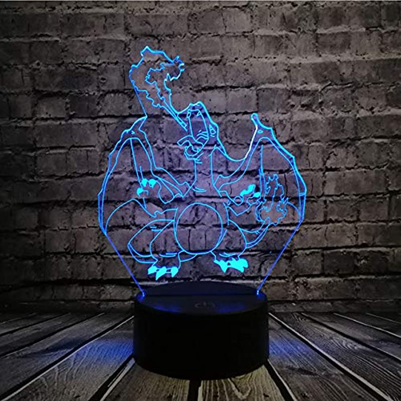 LLWWRR1 Pokemon Go Action Figure 3D RGB Lamp Pikachu Eevee Turtle Bird Fire Dragon Pokeball Ball Bulbasaur Bay Role Gift Night Light Led I