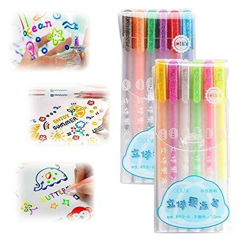 12Pack Set penna inchiostro gelatina lucida 3D, penna per pittura fluorescente fai-da-te Pennarello per evidenziatori Penna gel (A+B)