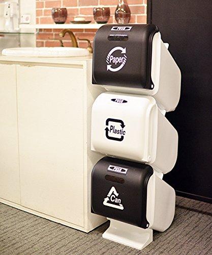 VIDA(ヴィーダ)スリーサイクルカンRecyclebin新色塵箱掃除キッチンごみ箱3段蓋付きフタ付きストッパーワンタッチダストカン分別ダストビンゴミ箱(ブラックホワイト)