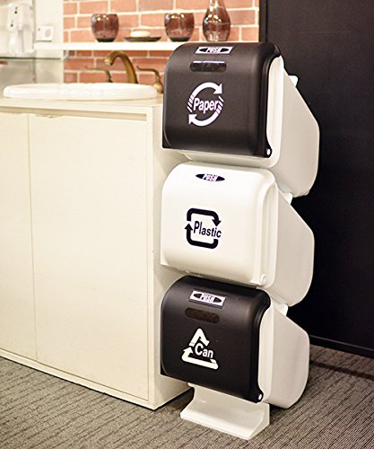 VIDA(ヴィーダ)スリーサイクルカンブラックホワイトRecyclebinblack/white新色塵箱掃除キッチンごみ箱3段蓋付きフタ付きストッパーワンタッチダストカン分別ダストビンゴミ箱9999062311326