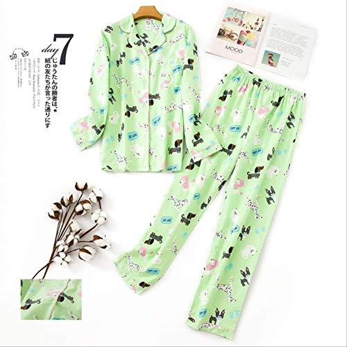 XFLOWR pyjama's dames Kawaii cartoon pyjama's 100% geborsteld katoen vrouwelijk leuk nachtpak lange mouwen nachtkleding S PH-007