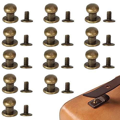 50 Piezas Remache de Cuero, Botón para Remache de Cuero, Remache de Bronce, 6 mm Aleación Botón de Cabeza Redonda para Bricolaje, Cinturón, Billetera, Chaqueta, Abrigo, Jeans, (Bronce)