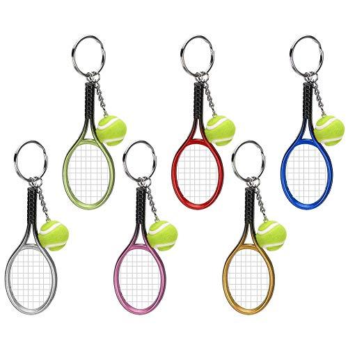 FEYV Bolso Colgante, Compacto 6 Piezas Mini Llavero Ligero De Raqueta De Tenis para Equipaje Regalo De Amigos para Bolso
