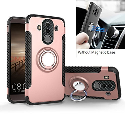 Mate 10 Pro Case, Mingwei [with 360 ° Kickstand] Rotating Ring Case [Dual Shockproof] Protection Cover Compatible with [Magnetic Car Mount] for Huawei Mate 10 Pro (Mate 10 Pro, Pink)