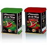 Pimentón de la Vera Ahumado en Lata, Pack 2x75g ( Dulce y Picante ). Producto con la Denominación de Origen Protegida D.O.P. Condimento Apto para Celíacos.