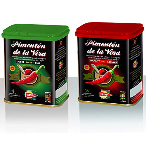 Pimentón de la Vera Ahumado en Lata, Pack 2x75g ( Dulce y Picante ). Producto con la Denominación de Origen...