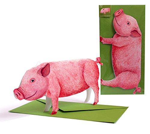 POP-UP 'las suertes forma de cerdo' compartimentos para tarjetas de: A plegada A la 3-D tarjetero diseño de - of A - diseño de tartas de cerdito pequeños de Set de dinky! Mejor para años good New Tarjeta de felicitación de Wishes o para.