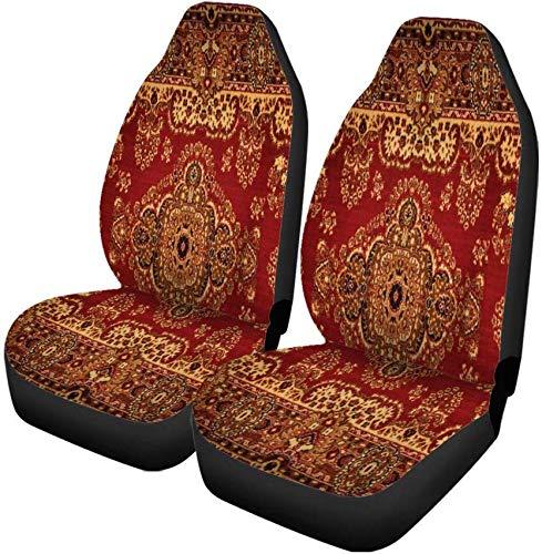 Set van 2 Autostoelhoezen Rood Oosters Perzisch Tapijt Patroon Oude Koninklijke Etnische Traditionele Universele Auto Voorstoelen Beschermer Past Voor Auto
