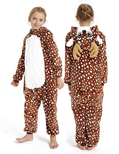 CASABACO Kid Reindeer Onesie Pajamas Deer Christmas Halloween Costume Boy Girl Animal Onepiece, Dot Deer, 120cm