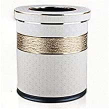 JJZXD Trash Can with Leather Cover Luxury Metal Trash Can, Office Waste Paper, Double Layer, Round (Color : B)