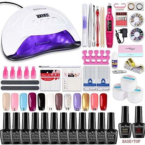 Kit de esmalte de uñas con 48W UV Light Starter Kit Set de esmalte de gel - 18 colores, lámpara de uñas LED con herramientas de manicura mejoradas (84W 12 color Fixed)