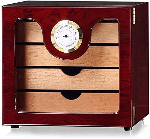 YLDXP Gabinete humidor de cigarros, Caja de cigarros de Madera de Cedro con Pintura de Piano, Caja Decorativa de Caja de cigarros de Gran Capacidad