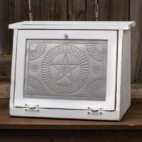 Farmhouse Star Bread Box, White