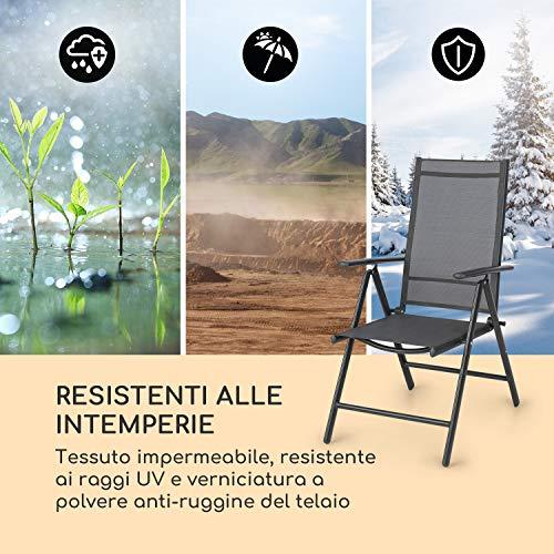 blumfeldt Almeria - Set da 2 Sedie Pieghevoli da Giardino, 56,5x107x68cm, Schienale a 7 Posizioni, Tessuto Traspirante e Resistente all'Acqua, Alluminio, Antracite