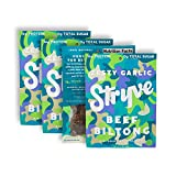 Stryve Biltong, Beef Jerky without the Junky. 16g Protein, Sugar Free, No Carbs, Gluten Free, No Nitrates, No MSG, No Preservatives. Keto and Paleo Friendly. Zesty Garlic, 2.25oz 4-Pack