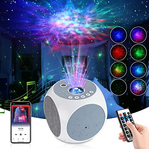 Proyector de Luz Estelar, TAOPE LED de Luz Nocturna Giratorio Cambiar Color Reproductor de Música/Bluetooth/Temporizador/Remoto, Lámpara Luces Nocturnas de Nebulosa Giratorio-Niños/Decoración/Regalo