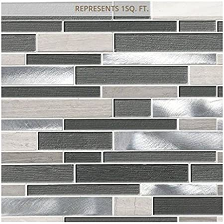 Urban Loft Interlocking 12 In X 12 In X 4 Mm Glass Stone And Metal Mesh Mounted Mosaic Tile