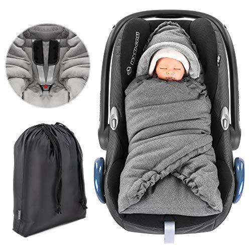 Zamboo - Manta Envolvente bebé acolchada, con capucha y bolsa - Arrullo forro polar térmico Sillas Grupo 0+ (se adapta a Maxi-Cosi / Cybex / Recaro) - Gris