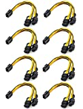 Graphics Card 6 Pin to Double 8 Pin 6+2 Pin PCIE Adapter Cable line, 8-Pack 6 pin to 8 pin PCI-e Express Power GPU Video Care Cable, 9Inches / 23CM (6 pin to Double 8 pin)…