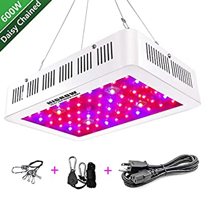 HIGROW 600W / 1000W Double Chips LED Grow Light Full Spectrum Grow Lamp with Glasses and Rope Hanger for Indoor Greenhouse Hydroponic Plants Veg and Flower.