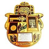 Hamsa Wall Decor Hebrew Blessing Wall Decor Jewish Blessings for luck & Protection Hand Fatima Wood With Semi Precious Stones Gift Menorah Shma Israel Star of David Kabbala Key