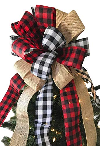 Fvviia Christmas Tree Topper Large Buffalo Plaid Burlap Red and Black Gift Bow for Xmas Tree Handmade Holiday Party Decorations-13 x 17 Inch