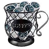 Dheva Coffee Creamer Container Metal Coffee Holder for Counter Coffee Pod Storage Holder Organizer K Cup Holder Black Mug Shape Coffee Pod Holders Espresso Storage Basket Coffee (Black)