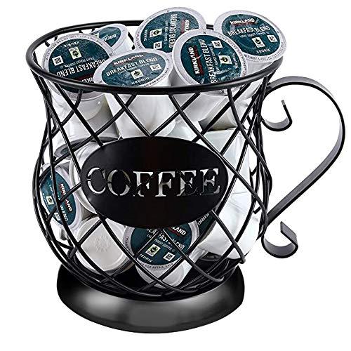 MagicXflow K Cup Holder Mug Shape Coffee Pod Holders, Materials Coffee Mug Wire Storage Basket Large Capacity Espresso Pod Holder, Coffee Kcup Kpod Storage Organizer for Counter Coffee Bar (Black)