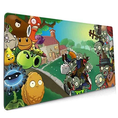 Plants Vs Zombies Office Study,Desktop Mat, Shopping, Gaming Mouse Pad con bordes cosidos, de goma antideslizante de gran tamaño, extendida para juegos de carreras (15,8 x 35,5 pulgadas)