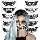 Maquillaje Halloween AirSMall (10 Hojas) Tatuajes de Halloween con Calaveras Realista Horror Tatuaje Temporal Decoracion de Halloween/Cosplay/Adhesivos Pegatinas Catrina Cara para Niños/Mujeres/Hombre