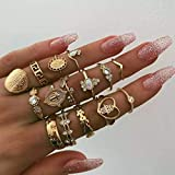 Evazen Boho Crystal Midi Finger Rings Set Love Heart Geometric Gold Coin Teardrop Knuckle Stacking Rings Delicate Fashion Rings for Women and Girls (Set A)