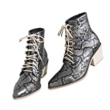 Women Embroidered Block Heel Ankle Bootie Lace up Floral Dress Short Booties Heighten Pointed Toe Totem Boots Shoes (8.5, Serpentine-a, numeric_8_point_5)