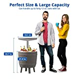 Cozy Castle 3 in 1 Cool Bar, Adjustable Patio Cool Bar, Outdoor Bar Table for All-Weather, Resin Outdoor Side Table, Outdoor Patio Furniture, Coffee, Beer and Wine Cooler, Backyard Decor Furniture