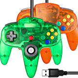 2 Pack USB N64 Controller, iNNEXT N64 Wired PC Gamepad Joystick for Windows PC MAC Linux Raspberry Pi Genesis Higan Project 64 Retropie OpenEmu Emulator (Plug & Play) (Green+Orange)