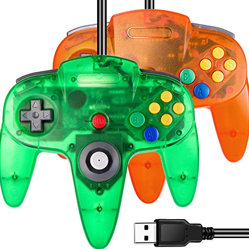 2 Pack USB N64 Controller, iNNEXT N64 Wired PC Gamepad Joystick for Windows PC MAC Linux Raspberry Pi Genesis Project 64 Retropie OpenEmu Emulator (Transparent Green/Transparent Orange)