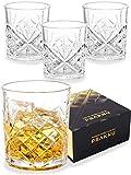 Juego de 4 Vasos de Whisky de Cristal de 300 ml - con Caja de Regalo - Vaso de Whiskey para Regalar