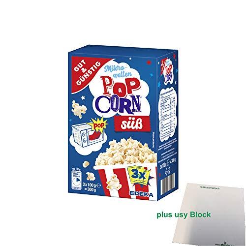 Gut & Günstig Mikrowellen Popcorn süß (3x100g) + usy Block