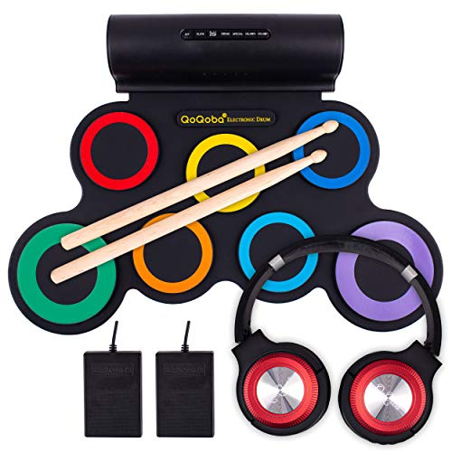 QoQoba Electronic Drum Set for Kids | Adult Beginner Pro MIDI Drum Practice Pad Kit Incl. Foldable Headphone | Drum Sticks | Great Holiday Birthday Gift for Kids Drum Set (RAINBOW)