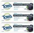 Tom's of Maine Activated Charcoal Toothpaste, Natural Toothpaste, Peppermint, 4.7 oz 3 Pack