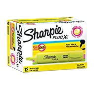 Sharpie Fluo XL Highlighters | Chisel Tip | Fluorescent Yellow | 12 Count