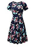 HUHOT Skater Dress, Women Short Sleeve Summer Casual Flared Midi Dress (L, Navy Peony)