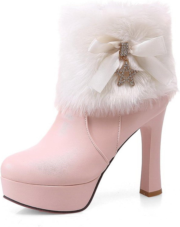 Ladola Girls Fur Collar Platform Spun gold Bowknot Imitated Leather Boots