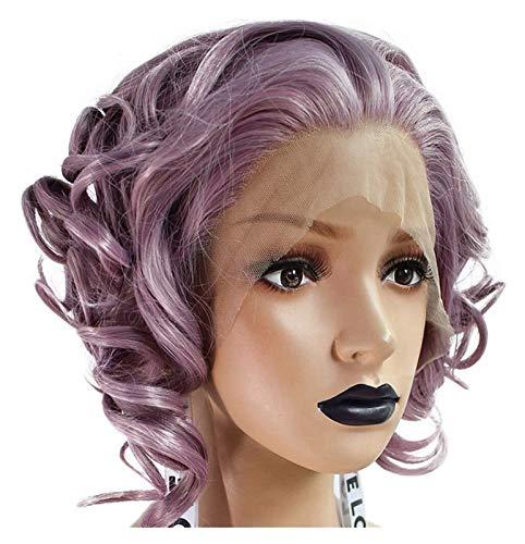 Europa och Förenta staterna Front Bud Silk Screen Chemical Fiber Wig Kvinna 18 tum Bob Lila Kort hår Vågigt Curly Cosplay Props lockig peruk TSYGHP