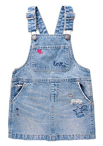 CYSTYLE 2018 Mädchen Kleid Träger-jeanskleid Jeans Denim Trägerkleid mit Sterne Drucken (110/Körpergröße 98-104cm)