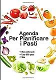 Agenda per pianificare i pasti: v1-5 Perfetta per pianificatore dei pasti per l'intera settimana | scrivere una lista della spesa per ogni pasto | 111 ... bianco con farandola di frutta e verdura