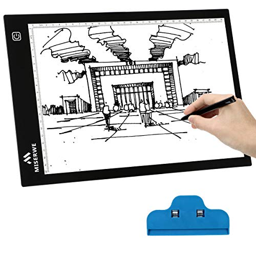 Miserw A4 Light Table 4.0mm Ultra-Thin Led Light Box Artcraft Tracing pad for Sketching Artists Drawing Animation Stencilling X-rayViewing