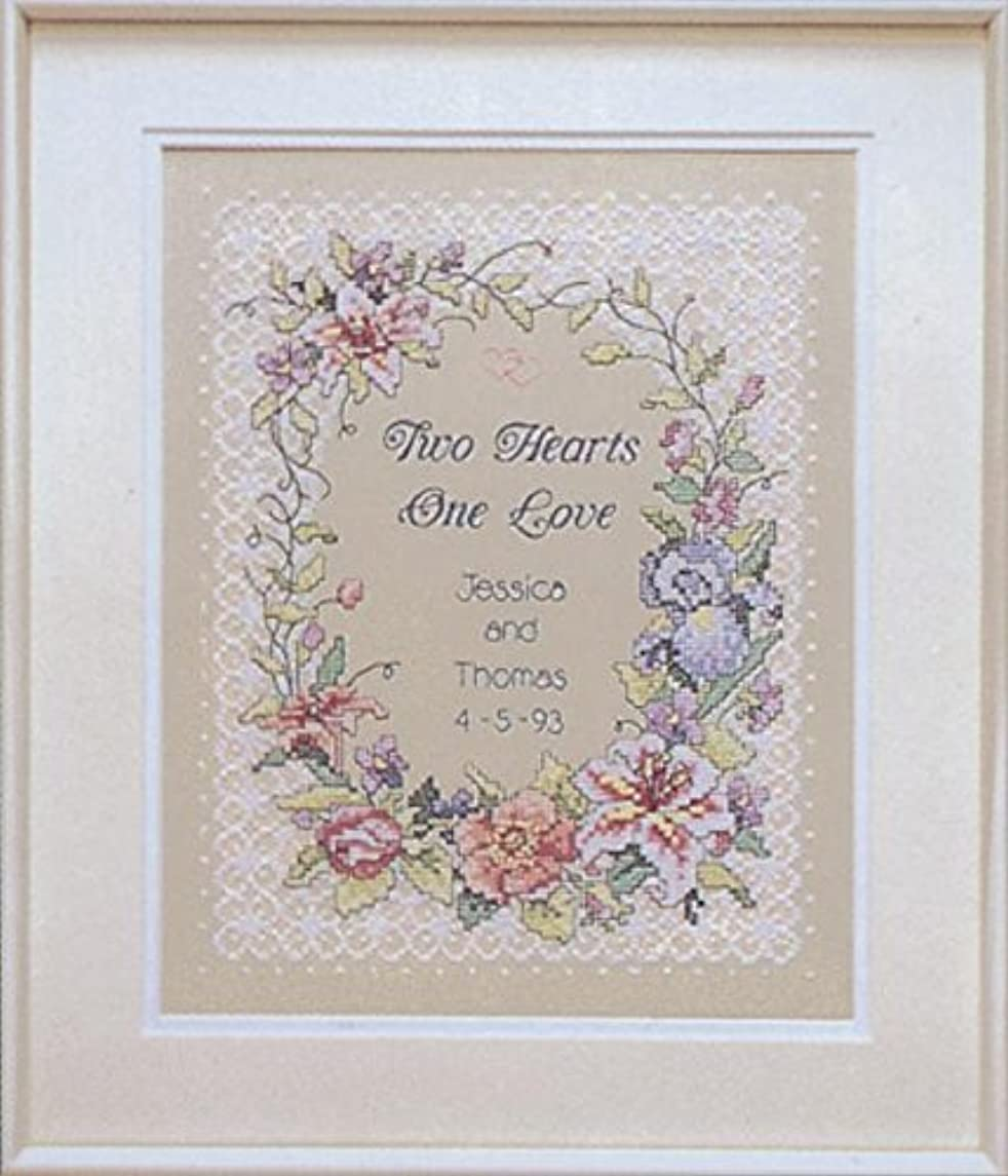 Two Hearts Wedding Record Stamped Cross Stitch Kit-11x14