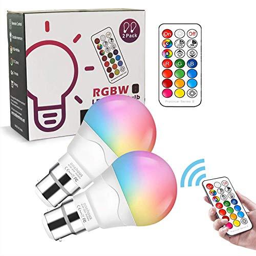 LED Farbwechsel Glühbirne B22, 6W RGB LED Lampe mit Fernbedienung, Warmweiß, energiesparende Nachtlampe für Zuhause/Party/Bar/Bühne Stimmungsatmosphäre Beleuchtung, 2Pack