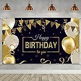 Glücklich 30. 40. 50. 60. Geburtstag Party Dekoration, Extra Große Stoff Zeichen Poster für Alles Gute zum Geburtstag Hintergrund Banner, Alles Gute zum Geburtstag Schwarz Gold Party...